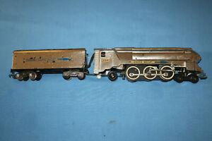 American Flyer #356 Silver Bullet Locomotive & Tender. Runs & Smokes Well