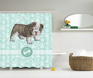 Adorable Bulldog Cute Puppy Bone Teal and White Shower Curtain Extra Long 84Inch
