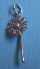 stem sterling charm Vintage flower on