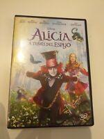 Dvd Alicia a traves del espejo de Disney con johnny depp