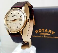 Rotary AVENGER Mens Watch Date Brown Leather strap RRP £280 Boxed (R120