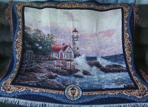 Thomas Kinkade Painter of Light 'Lighthouse, Ocean Waves' Blanket/Throw Fringe