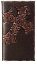 Nocona Western Mens Wallet Dark Brown w/ Diagonal Cross Checkbook Cover N5487044