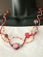 Vintage Art Glass Venetian or Bohemian multi color beads Necklace