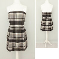 French Connection Short Dress 12 14 Strapless WOOL BLEND Tartan Check Black Grey