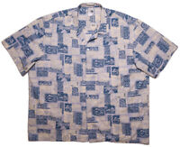 PARADISE STYLE HAWAII Hawaiian Shirt Blue Floral Guitars Fish Turtles 3XL
