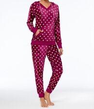 Jenni by Jennifer Moore Printed Velour Hooded Pajama Top, Purple Dot, Small S