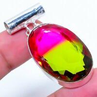 "Bi-Color Tourmaline Gemstone Handmade 925 Silver Jewelry Pendant 1.77""  RARK-251"
