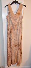 Designer Long Sleeveless Beaded Formal Gown/ Evening Light Brown Dress Size 22