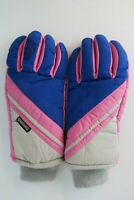 Vintage 80s Ski Snowboarding Gloves Womens Leather Palms NEON Thinsulate S/M