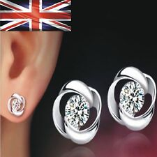 Womens Earrings Swirl Stud Round Crystal Fashion Jewellery 925 Sterling Silver