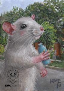 KMCoriginals Rat rattie walking Freeman Gardens water bottle Randy Rosa ACEO art