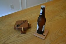 "Mahogany 3 Coaster Set SANSUI TECHNICS DYNACO 4""x4""x.25"" Laser-Engraved + BONUS"