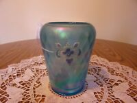 BEAUTIFUL BLUE IRIDIZED FENTON DIAMOND OPTIC 90TH ANNIVERSARY VASE