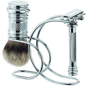 Shaving Set Merkur /Dovo Solingen Safety Razor Badger Shaving Brush Silvertip
