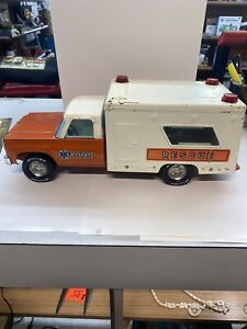 VTG 1970's NyLint Toys Rescue Ambulance Truck Pressed Steel! Nice! Read
