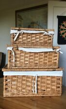 3 Pieces SML Lined Natural wicker blanket box / toy chest / storage trunk