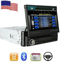 """Single 1DIN Retractable HD Car DVD Stereo Player 7"""" Touch Screen Radio Bluetooth"""