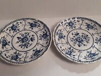 "Pair GUC Antique ""Indies Blue"" Johnson Brothers Saucer Plates Set of 2 (England)"