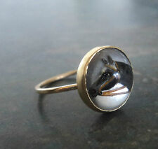 Vintage 14 ct Gold Essex Crystal Horse Ring  - Riding / Equestrian -  size N