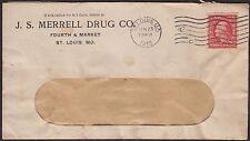 PERF 8½ COIL (#393) ON 1912 ST. LOUIS COMMERCIAL COVER, J.S. MERRELL DRUG CO