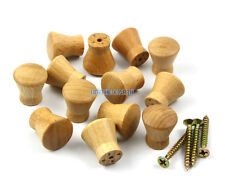 50 Pieces 17mm Unpainted Small Wooden Drawer Pull Cabinet Knob Furniture Handle