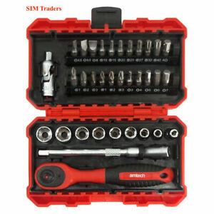 "35 Piece ¼"" Drive Metric Socket Set 72 Teeth Ratchet Hex, Torx, Flat, PH, PZ CRV"