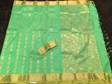 Kanchipuram Indian Silk Saree Bollywood Bridal Wear Sari Parrot Green Gold #A6