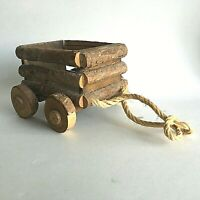 """VINTAGE WOOD WOODEN  CART WAGON CANDY CONTAINER DISH BOWL 5.5""""X 5""""X 4""""PRIMITIVE"""