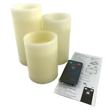 MADE BY DESIGN NEW 3pc Pillar Candle Set LED Vanilla Scented Flameless w/Remote