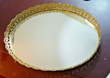 Vintage Ornate Oval Goldtone Vanity Tray