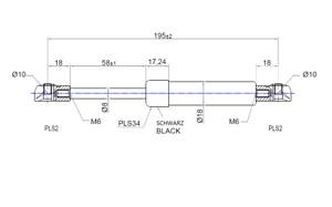 Gas Spring 7 11/16in Length 2 9/32in Hub 60N - 450N Kesseböhmer Fittings Gas