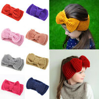 Newborn Ear Warmer Headband Crochet Knitted Big Bowknot Kids Hairband Headwrap