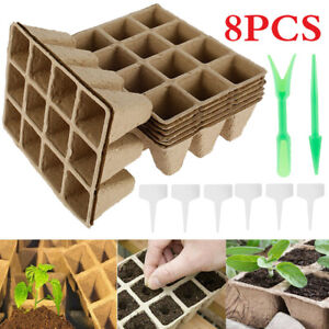 8x 12 Cell Seed Trays Set Seedling Starter Tray Plant Pots Germination Grow Cups