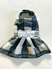 Handmade winter plaid fleece doggie dress size Small