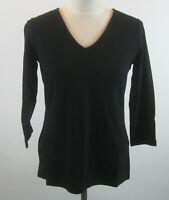 Isaac Mizrahi Essentials 3/4 Sleeve Knit T-Shirt Top S Black NEW A240829