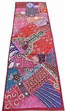 """60"""" Red Vintage Textile Bead Sequin Moti Sari Tapestry Throw Table Linen Runner"""