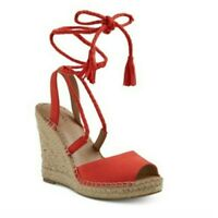 Merona Maren Red/Coral Lace Up Espadrille Wedge Sandals Red   Size 5.5
