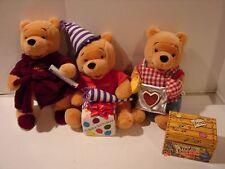 LOT 3 WINNIE THE POOH PLUSH TEDDY BEARS WALT DISNEY CO MOTHER'S & FATHER'S DAY