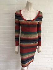 Ralph Lauren Double RL cuisine Silk Distressed Knit Dress Sweater Dress US 2 UK 6