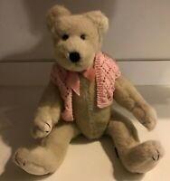"Tall 17"" BOYDS TEDDY BEAR 5-Way Jointed WHITE Huggable Bear Betty Lou"