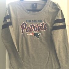 New England Patriots Girls Shirt Medium 10/12 Gray Long Sleeve New