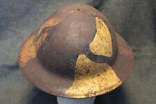Rare Original WW1 U.S. Army Field Camo Painted Combat Helmet w/Liner & Strap