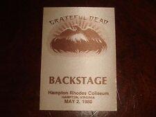 Rare Vintage GRATEFUL DEAD BACKSTAGE PASS Hampton, VA Rhodes Coliseum 5/2/1980