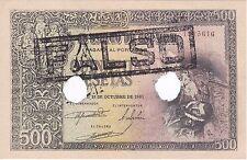 ¡¡FALSO DE EPOCA!! BILLETE DE 500 PTAS DEL AÑO 1940 DEL CONDE ORGAZ SIN CIRCULAR