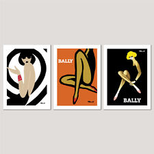 3 x BALLY Framed / Unframed OFFICIALLY LICENCED Villemot Vintage Poster Prints 1
