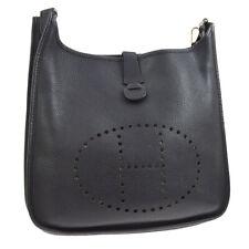 HERMES EVELYNE 2 GM Shoulder Bag Black Taurillon Clamence JT08640g
