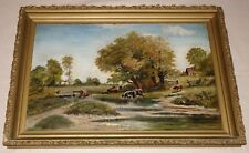 Original Vintage Oil Painting on Board. Farm Landscape with Cattle