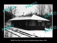 OLD LARGE HISTORIC PHOTO OF THIELLS NEW YORK, THE ERIE RAILROAD DEPOT c1950