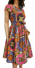 'Joyce' Woman African Printed Fabric Dress 100% Wax Cotton Handmade UK